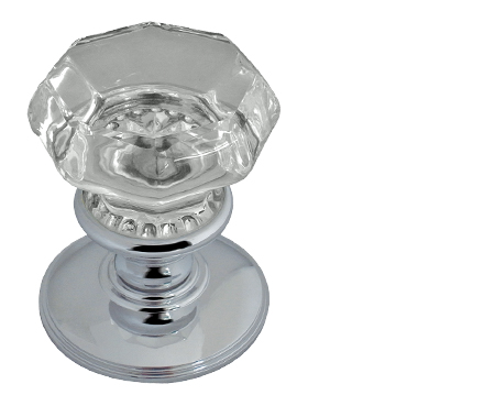 Jedo Collection Flower Octagonal Glass Mortice Door Knobs, Polished Chrome,  Satin Chrome Or