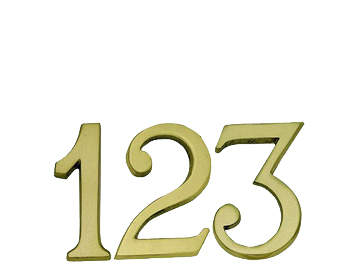 Polished Brass Finish 'Pin Fix' Numerals Or Letters (Numbers: 0-9 Letters: A-C) - JPB