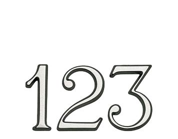 Satin Chrome 'Pin Fix' Numerals And Letters (Numbers: 1-9 Letters A-C) - JSC