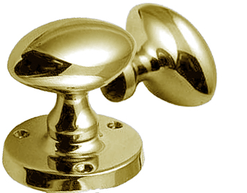 Jedo Collection Oval Rim Door Knobs, Polished Brass - JV34RPB