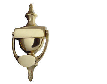 'Large Victorian Urn' Door Knocker, Polished Brass - JV38-BPB