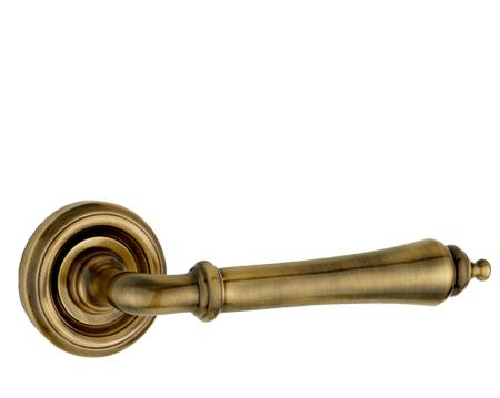 Parisian 'Camille' Antique Bronze Door Handles - JV651AB (sold in pairs) - Antique Brass & Bronze - Door Handles On Rose From Door Handle Company