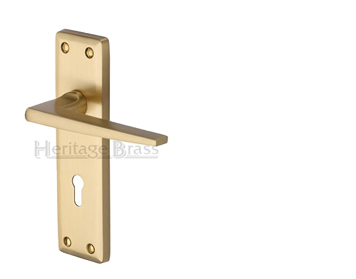 Heritage Brass 'Kendal' Door Handles On Backplate, Satin Brass - KEN6800-SB (sold in pairs)