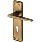 Heritage Brass Kendal Door Handles On Backplate, Antique Brass - KEN6800-AT (sold in pairs)
