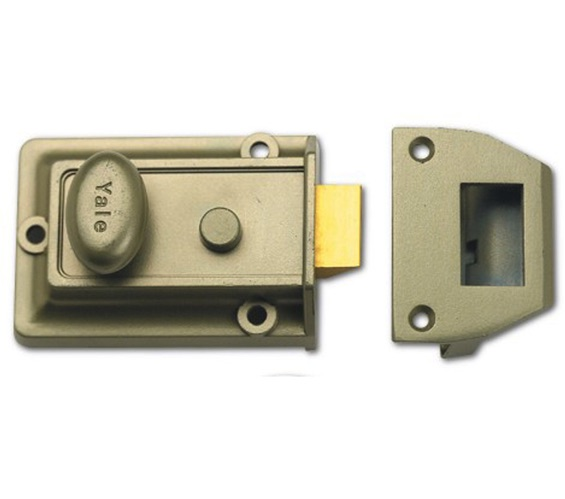 YALE 77 Non-Deadlocking Traditional Nightlatch, Enamelled Nickel Bronze With Satin Chrome Cylinder - 2585