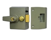 Union 1097 & 1098 Auto Deadlocking Nightlatch, Champagne Gold With Polished Brass Rim Cylinder - L1428