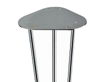 370mm High, Low 3 Bar Tapered Table Leg, Polished Chrome - L400XC