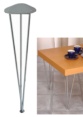 Rothley 710mm High, 3 Bar Tapered Table Leg, Polished Chrome - L700XC None