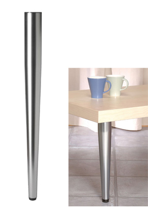 Rothley 710mm High, Tapered Table Legs, 60mm Dia, Polished Chrome Or Satin  Silver