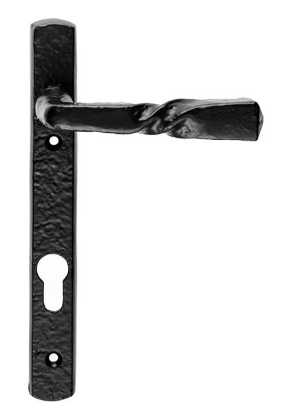 U0027Barley Twistu0027 Narrow Plate, 92mm C/C, Euro Lock, Black