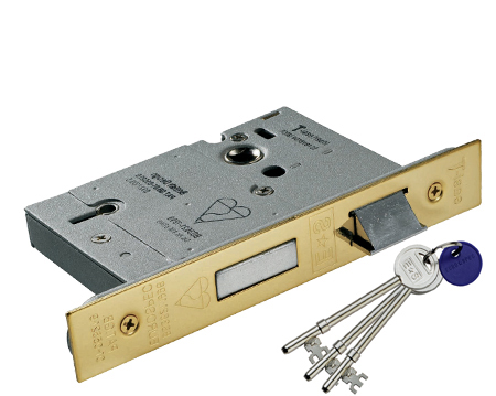 'Insurance Rated' 5 Lever Sash Locks - Silver Or Brass Finish - LSB5525
