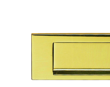 Plain Gravity Flap Letter Plate 270mm X 72mm, Polished Brass - M36GPB