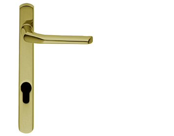 Carlisle Brass Straight Narrow Plate, 70mm Or 92mm C/C, Euro Lock, Polished Brass Door Handles - M86NP (sold in pairs)