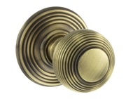 Atlantic Ripon Old English Solid Brass Reeded Mortice Knob, Antique Brass - OE50RMKAB (sold in pairs)