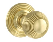 Atlantic Ripon Old English Solid Brass Reeded Mortice Knob, Polished Brass - OE50RMKPB (sold in pairs)