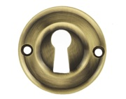 Atlantic Old English Solid Brass Standard Profile Round Escutcheon, Antique Brass - OERKEAB