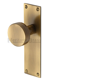 'Orbit' Mortice Door Knobs On Backplate, Antique Brass - ORB-AT