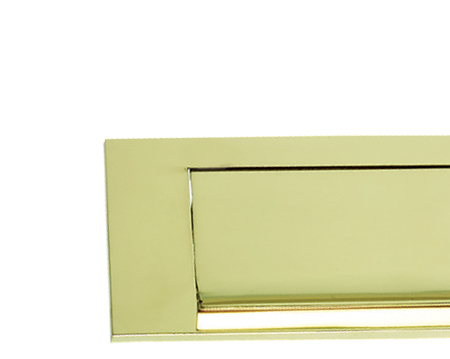 Prima Horizontal Gravity Flap Letter Plate, Polished Brass - PB08