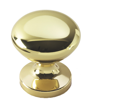 Prima Round Centre Door Knob, Polished Brass - PB1348