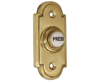 Prima 'Victorian' Shaped Bell Push With China 'Press' Button, Polished Brass - PB1417