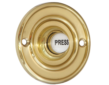 Prima 'Circular' Shaped Bell Push (60mm, 76mm OR 100mm), Polished Brass - PB1418