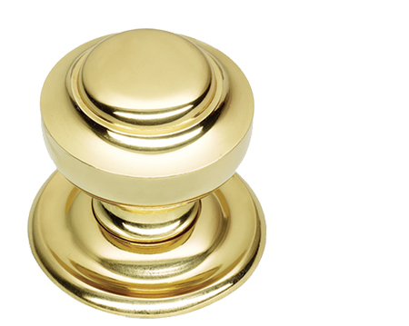 Prima Tiered Centre Door Knob, Polished Brass - PB14