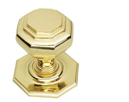 Prima Octagonal Centre Door Knobs (60mm Or 67mm), Polished Brass - PB15