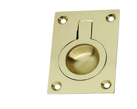 Prima Rectangular Flush Ring (54mm x 38mm OR 67mm x 50mm), Polished Brass - PB160