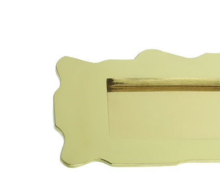 Prima Scalloped Edge Letter Plate (283mm x 102mm), Polished Brass - PB177