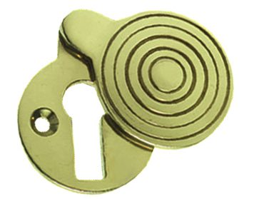 Prima 'Queen Anne' Reeded Covered Standard Profile Escutcheon, Polished Brass - PB283