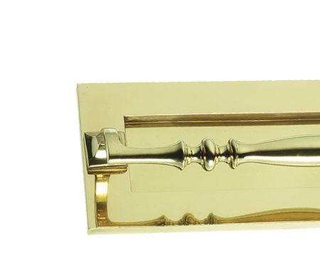 Prima Letter Plate With Grab Handle (254mm x 102mm OR 310mm x 102mm) , Polished Brass - PB383