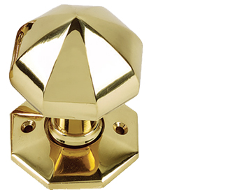 Prima Octagonal Mortice Door Knobs Unsprung Rose, Polished Brass - PB635 (sold in pairs)