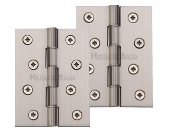 Heritage Brass 4 Inch Double Phosphor Washered Butt Hinges, Satin Nickel - PR88-410-SN (sold in pairs)
