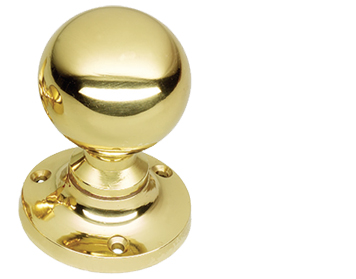Prima Ball Mortice Door Knobs (Sprung OR Unsprung), Polished Brass - PB95