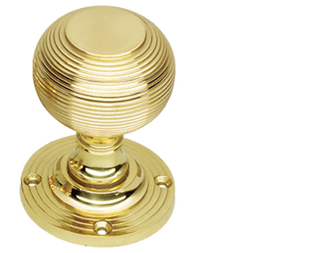 Prima 'Queen Anne' Reeded Mortice Door Knobs (Half-Sprung), Polished Brass - PB96