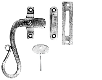 Carlisle Brass Ludlow Foundries Shepherds Crook Locking Window Fasteners, Pewter Finish - PE1006
