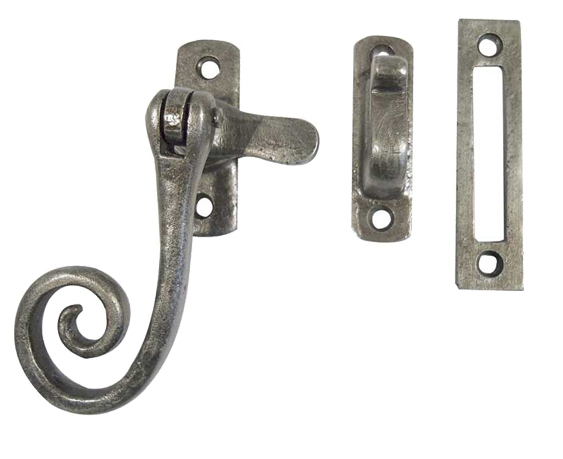 Frelan Casement Fastener Hook & Mortice Plate, Pewter Effect - PEW19M None