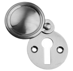 'Victorian' Round Standard Profile Covered Escutcheon, Pewter Finish - PF103