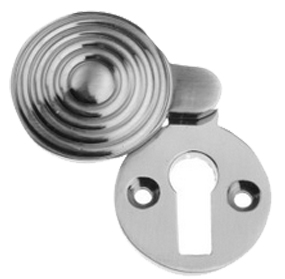 'Queen Ann Reeded' Covered Standard Profile Escutcheon, Pewter Finish - PF283
