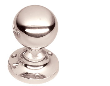 Prima 'Ball' Sprung Mortice Door Knobs, Polished Nickel - PN95