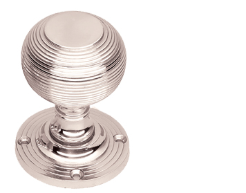 Prima 'Queen Anne' Reeded Mortice Door Knobs, Half Sprung, Polished Nickel - PN96