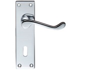 Zoo Hardware Project Range Victorian Scroll Door Handles On Backplate, Polished Chrome - PR021CP (sold in pairs)