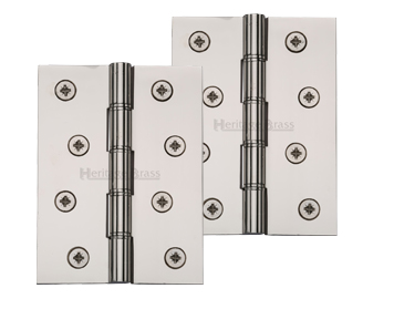 Heritage Brass 4 Inch Double Phosphor Washered Butt Hinges, Polished Nickel - PR88-410-PNF (sold in pairs)