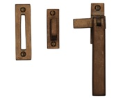 M Marcus Mortice & Hook Plate Casement Fastener For Weather Stripped Windows (128mm), Solid Bronze Rustic - RBL684