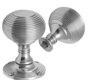 REEDED RIM DOOR KNOBS, POLISHED CHROME OR SATIN CHROME - RIM V971
