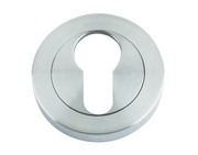 Zoo Hardware Rosso Maniglie Euro Profile Escutcheon, Satin Chrome - RM001SC