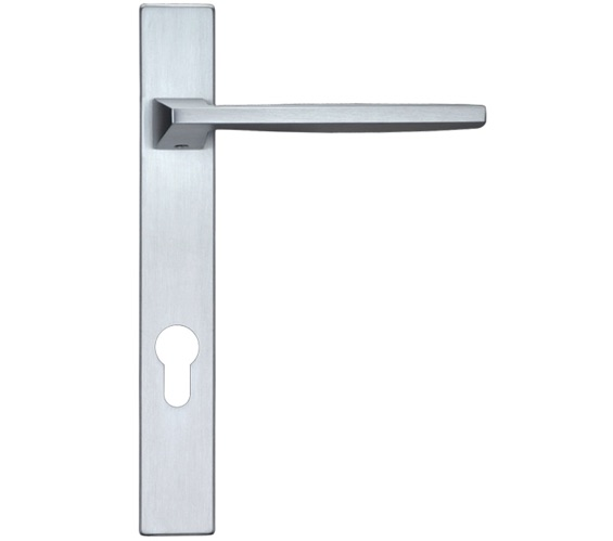 Zoo Hardware Rosso Maniglie Pavo Euro Lock Multi Point Door Handles On Narrow 220mm Backplate, Satin Chrome - RM03NP92SC (sold in pairs)