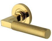 Heritage Brass Signac Knurled Door Handles On Round Rose, Polished Brass - RS2260-PB (sold in pairs)