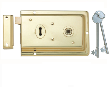 Eurospec Rim Lock, Polished Brass - RSE8064PB