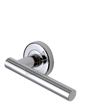 Sorrento Shuttle Door Handles On Round Rose, Polished Chrome - SC-3052-PC (sold in pairs)